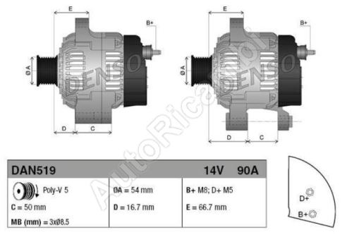 Alternátor Fiat Fiorino 2007> 1.3 MJTD/ Doblo 2005>