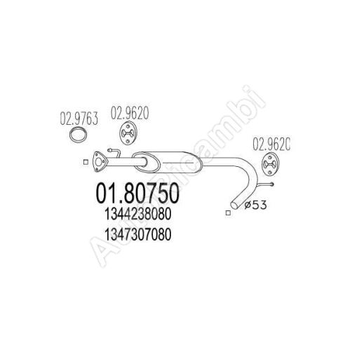 Stredový tlmič výfuku Fiat Ducato244/Boxer/Jumper 00-06