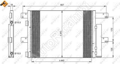 Kondenzátor klimatizace Cargo 75E17 Iveco Tector Rest.