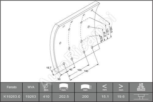 Brzdové obložení Iveco Eurotech 190E34
